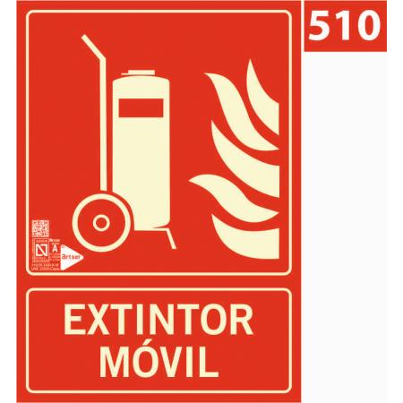 Señal de extintor móvil