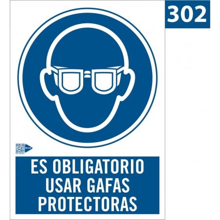 Señal de obligación de usar gafas protectoras
