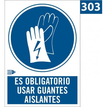 Señal de Obligación de usar guantes aislantes