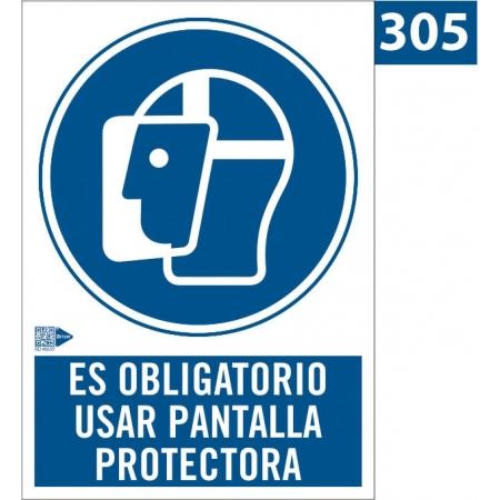 Señal de Obligación de usar pantalla protectora