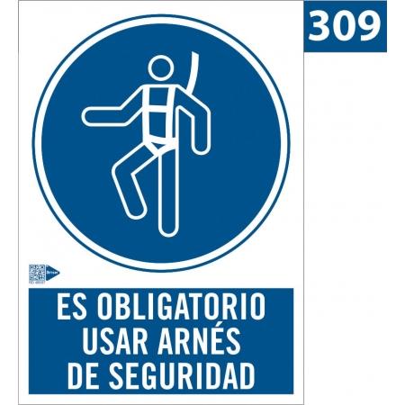 Señal de obligación de usar arnés de seguridad