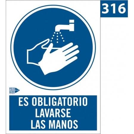 Señal de Obligación de lavarse las manos