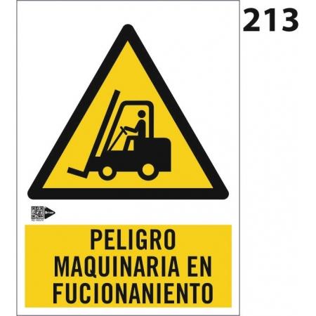 Señal de peligro maquinaria en funcionamiento